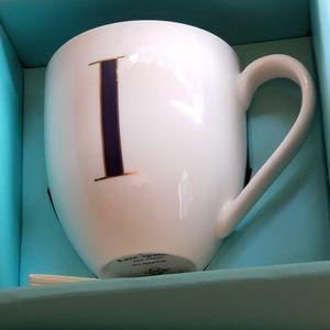 "Kate Spade  ""I"" Monogramed Lenox Mug"